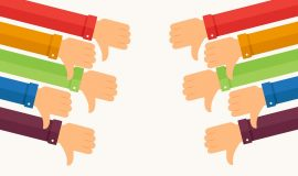 Fists down, dislike concept. Various arms with colors rainbow in the sleeves. Vector illustration