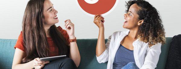 Women holding a Google Plus icon