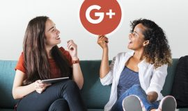 Women holding a Google Plus icon